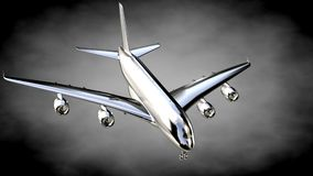 3d rendering of a metalic reflective airplane on a dark backgrou. Nd Stock Photo