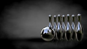 3d rendering of a metalic reflective bowling set on a dark backg Royalty Free Stock Photography
