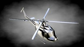 3d rendering of a metalic reflective helicopter on a dark backgr Royalty Free Stock Image