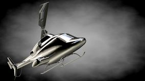 3d rendering of a metalic reflective helicopter on a dark backgr Stock Image