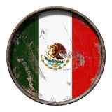 Old Mexico flag. 3d rendering of a Mexico flag over a rusty metallic plate. Isolated on white background Royalty Free Stock Photo