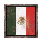Old Mexico flag. 3d rendering of a Mexico  flag over a rusty metallic plate in an old frame. Isolated on white background Stock Photo