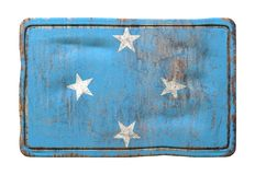 Old Micronesia flag. 3d rendering of a Micronesia flag over a rusty metallic plate. Isolated on white background Stock Photo