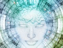 Our Digital Mind. 3D Rendering - Mind Field series. Composition of head of wire mesh human model and fractal patters on the subject of artificial intelligence Stock Photography