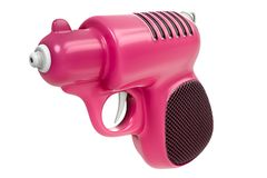 3d rendering of mini retro pink water gun isolated on white background. vector illustration