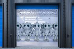 Robot in factory. 3d rendering mini robot assembly or group of cyborgs in factory royalty free stock images