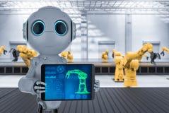 Robot in factory vector illustration