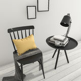 3d rendering minimal black chair and table with decor and book Stock Photos
