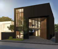 3d rendering minimal black cubic house in summer Royalty Free Stock Photos