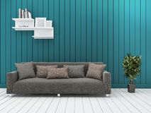 3d rendering minimal green wall living room with vintage sofa. 3d rendering illustration Stock Image