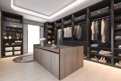 3d rendering minimal loft dark wood walk in closet with wardrobe Stock Image