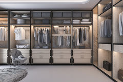 3d rendering minimal loft luxury wood walk in closet with wardrobe Royalty Free Stock Photos