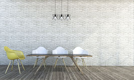 3d rendering minimal style white brick wall with chairs. 3d Rendering by 3ds max Stock Photography