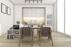 3d rendering minimal vintage kitchen and dining room Royalty Free Stock Image