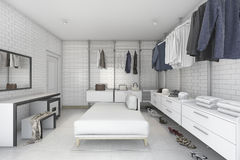 3d rendering minimal white brick make up room and walk in closet. 3d rendering interior design by 3ds max Royalty Free Stock Images