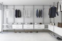 3d rendering minimal white brick walk in closet Stock Photo