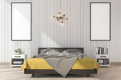 3d rendering minimal yellow bed with mock up frame in bedroom. 3d rendering interior and exterior design Royalty Free Stock Photo