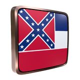 Mississippi flag icon. 3d rendering of a Mississippi State flag icon with a bright frame. Isolated on white background Royalty Free Stock Photo
