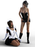 3D rendering of mistress and maid. Royalty Free Stock Photos