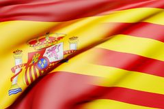 Spain and Catalonia flags. 3d rendering of a mixed of a Spain and Catalonia flag Stock Photography