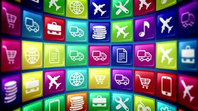Mobile application icons formed concave. 3d rendering of mobile application icons with the pictures of a smart phone, basket,   gear, music note, airplane Stock Photography