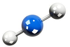 3D rendering of the model of the carbon dioxide molecule ( CO2 ). On white background Royalty Free Stock Photo