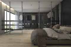 3d rendering modern bathroom with walk in closet and wardrobe. 3d rendering interior design by 3ds max Stock Image