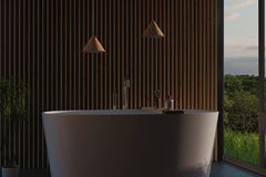 3d rendering of modern bathroom with wood slats and free standin royalty free illustration