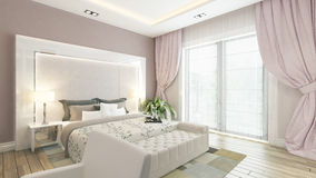 A 3d rendering of modern bedroom with pink wall. Modern bedroom design with pink wall and curtain by Sedat SEVEN Royalty Free Stock Photography