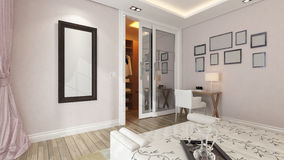 A 3d rendering of modern bedroom with pink wall. Modern bedroom design with pink wall and frames by Sedat SEVEN Stock Images