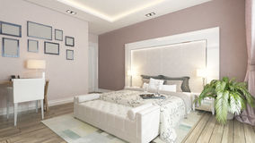 A 3d rendering of modern bedroom with pink wall. Modern bedroom design with pink wall, plant and frames by Sedat SEVEN Stock Photos