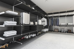 3d rendering modern black walk in closet with shirt and dress. 3d rendering interior design by 3ds max Royalty Free Stock Photo