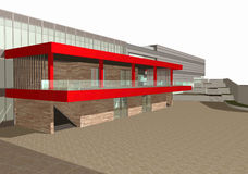3D rendering of modern building exterior Royalty Free Stock Image