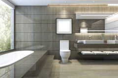 3d rendering modern classic bathroom with luxury tile decor with nice nature view from window Royalty Free Stock Photos