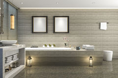 3d rendering modern classic bathroom with luxury tile decor with nice nature view from window Royalty Free Stock Images