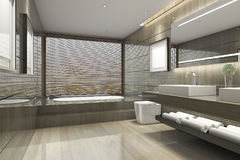 3d rendering modern classic bathroom with luxury tile decor with nice nature view from window Royalty Free Stock Image