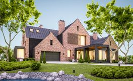 3d rendering of modern clinker house on the ponds with pool in evening vector illustration