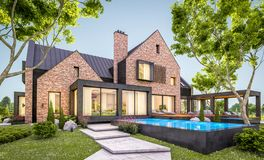 3d rendering of modern clinker house on the ponds with pool in evening. 3d rendering of modern cozy clinker house on the ponds with garage and pool for sale or royalty free illustration