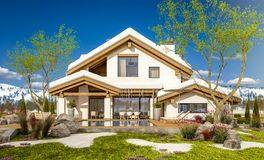 3d rendering of spring modern cozy house in chalet style. 3d rendering of modern cozy house in chalet style with garage. The first warm spring rays of the sun Stock Photography