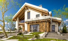 3d rendering of spring modern cozy house in chalet style. 3d rendering of modern cozy house in chalet style with garage. The first warm spring rays of the sun Stock Images