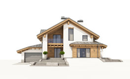 3d rendering of modern cozy house in chalet style Royalty Free Stock Photos
