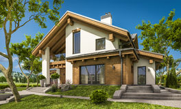 3d rendering of modern cozy house in chalet style. With garage for sale or rent with large garden and lawn. Clear sunny summer day with cloudless sky royalty free illustration