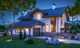 3d rendering of modern cozy house in chalet style. With garage for sale or rent with many grass on lawn. Clear summer night with stars on the sky. Cozy warm vector illustration