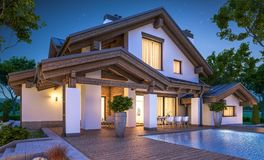 3d rendering of modern cozy house in chalet style. With garage for sale or rent with many grass on lawn. Clear summer night with stars on the sky. Cozy warm stock illustration