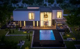 3d rendering of modern house in the garden at night. 3d rendering of modern cozy house in the garden with garage for sale or rent with beautiful pool in the yard stock illustration