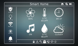 3D rendering modern digital smart house interface. On grey background Royalty Free Stock Photo
