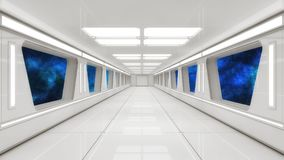 Modern and futuristic spaceship corridor Royalty Free Stock Images
