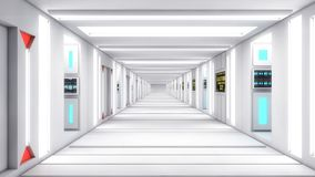 Modern and futuristic spaceship corridor. 3d rendering. Modern and futuristic spaceship corridor Royalty Free Stock Photography