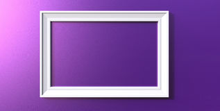 3d rendering of modern hanging white color photo frame on a purp. 3d rendering of cool modern hanging white color photo frame on a purple background Royalty Free Stock Image