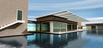 3d rendering modern home Stock Photos